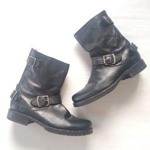 Frye • Veronica black zip-up buckle moto boots